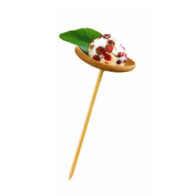 """THANI"" Bamboo Mini Dish with Skewer - 1.6 x 3.9"" 