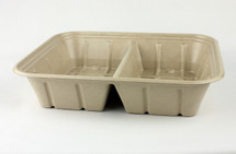 Fiber Catering Tray 112oz -  Double Compartment - w/PLA Laminate lined -  Compostable - 200 Count