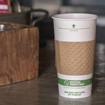 16 oz White Compostable Coffee Cups  | Sample