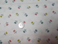 "D#1845, C#Q, Makower, off white background with multi colour tulip design, 100% good quality quilt cotton, 42"" wide"