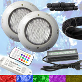 2 x Swimming Pool LED Light RGB + Controller + Power Supply + 10m Cable - Multi Colours - Quality Light