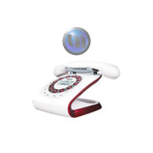 UNIDEN Retro Style Digital Cordless Phone System - White - (WiFi) Network Friendly - Alarm Clock