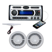 Marine Stereo Flush Mount Kit  Includes DVD/MP3/WMA/USB/CD/Radio + Speakers + Antenna