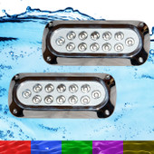 2 x 36W RGB Marine Underwater LED Boat Lights Multi-Colour + Remote NEW