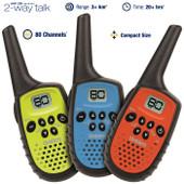 Uniden 0.5 Watt 80 Channel Mini Compact UHF Handheld Radios - Triple Colour Pack - 3+km Range