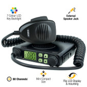 Uniden 5 Watt Mini Compact Size UHF CB Mobile - 80 Channels -  D+ Booster Extreme Distance Booster
