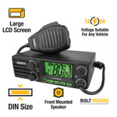 Uniden 12/24V 5W DIN Size UHF CB Mobile - 80 Channels with Large LCD Screen - Built-In AVS Circuitry
