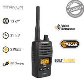 Uniden 80 Channels 2 Watt UHF Handheld Radio - Range Extender Duplex Capability - Operating Time: 21hrs