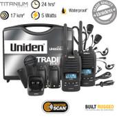 Uniden 5 Watt Heavy Duty UHF Waterproof CB Handheld - Tradies Twin Pack - 80 UHF Channels