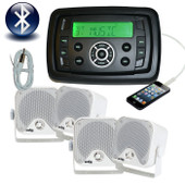 Marine Stereo Combo Kit MP3/USB/FM/AM Bluetooth Radio + 4 x Speakers + Antenna