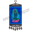 """Our lovely mini-carpet wall charm has been designed with the serene image of the Green Tara, mother of mercy and compassion. Both ends of the carpet have been finished with an intricate antiqued metal frame. The bottom frame also features matching antique metal teardrop tassels. This is a Kheops exclusive design. SYMBOL Green Tara - See more at: http://www.kheopsinternational.com/p/Wall-Hanging-Carpet-Green-Tara/63376.html#sthash.3O1309nK.dpuf"