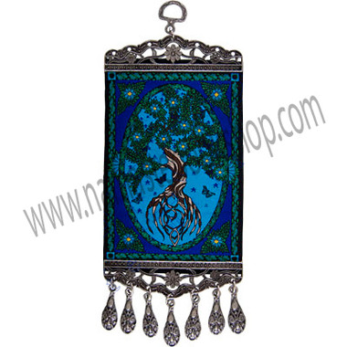 """Our beautiful mini-carpet wall charm features an impressive Tree of Life design. Both ends of the carpet have been finished with an intricate antiqued metal frame. The bottom frame also features matching antique metal teardrop tassels. This is a Kheops exclusive design. SYMBOL Tree of Lif - See more at: http://www.kheopsinternational.com/p/Wall-Hanging-Carpet-Tree-of-Life/63374.html#sthash.RtUHnoFj.dpuf"