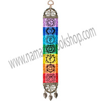 This colorful mini hanging carpet is sure to energize a room. It features the colors and symbols of all seven chakras. Both ends of the carpet have been finished with a lovely antiqued metal frame. The top frame has a hanging loop and the bottom frame features matching leaf tassels. Exclusive Design DIRECTIONS Turkey - See more at: http://www.kheopsinternational.com/p/Door-Hanging-Woven-Narrow-Carpet-7-Chakras/63384.html#sthash.XBva4KaG.dpuf