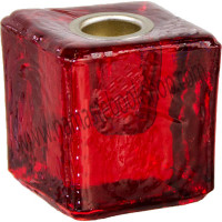 Mini Glass Candle Holder Cube Red