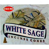 Hem Incense Cones in Display Box 10 cones White Sage