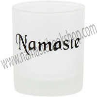 Etched Glass Votive Holder Namaste Black