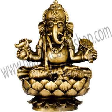 Polyresin Feng Shui Figurines Sitting Ganesha - Gold (each)