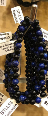 1  Black Tourmaline and Lapis Lazuli Stretch Bead Bracelet