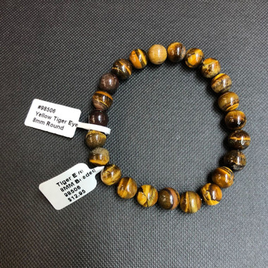 1 Tigers Eye Stretch Bead Bracelet 8mm  NOTE: Stock image you will receive a similar bracelet.