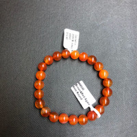 1 Carnelian Stretch Bead Bracelet 8mm NOTE: Stock image you will receive a similar bracelet.