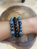 2 Snowflake Obsidian Bead Bracelets & 1 Smoky Quartz Bracelet