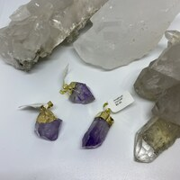 Amethyst Point Gold Pendants