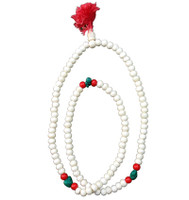 Decorated White Beads Japa Mala