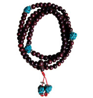 Rosewood Japa Mala 8 mm with Turquoise