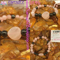 Rose Quartz Heart Charm Bracelet with Hematite Beads