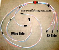 "20 AWG Triple Servo Wing Harness With Flange Mount 12"" Male to 12""-24""-36"" Female (3 channels one plug)"