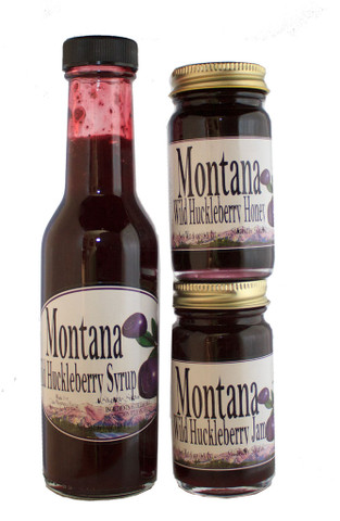 Sweet Huckleberry Syrup, Honey and Jam all in one gift wrapped bag. This is the best!