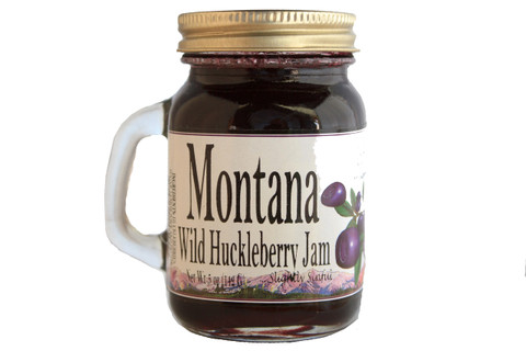 5 ounce Huckleberry Jam in a convenient shaker