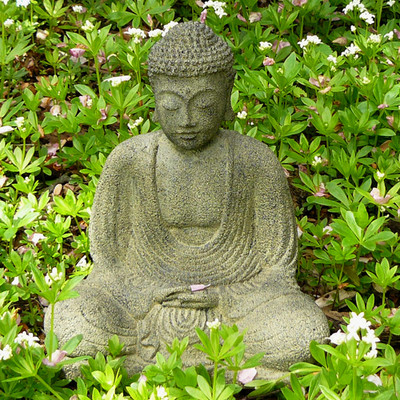 Stone-Cast Meditating Buddha
