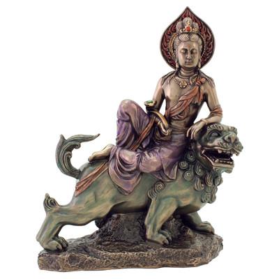 Manjushri on Lion Statue