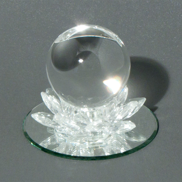 "Crystal Lotus with 3' crystal ball and 5"" mirror"