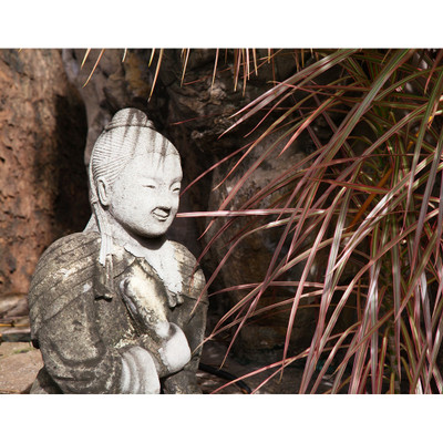 Garden Kwan Yin with Leaves Photo