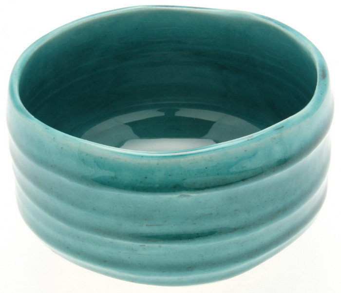 Ryukyu Blue Tea Bowl - closeup