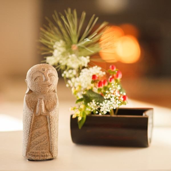 Namaste Jizo with Bamboo Raft Vase