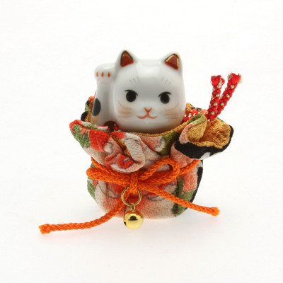 Lucky Cat in Kimono Pouch