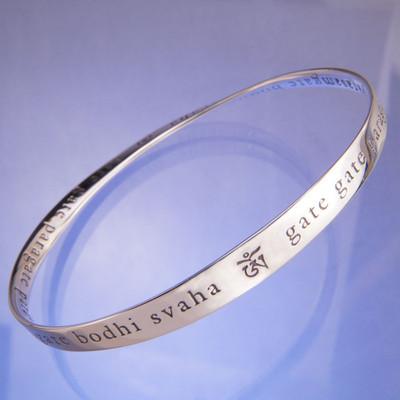 Heart Sutra Mantra Silver Bracelet