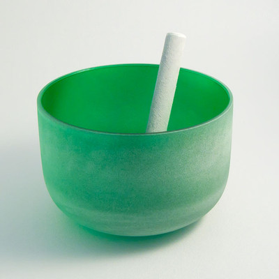 Frosted Crystal Singing Bowl - Green, 4th Chakra