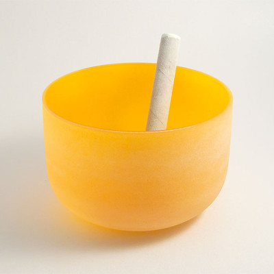 Frosted Crystal Singing Bowl - Yellow, 3rd Chakra
