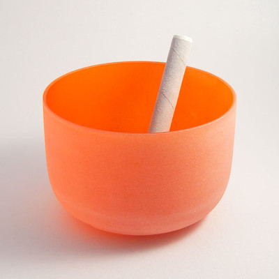 Frosted Crystal Singing Bowl - Orange, 2nd Chakra