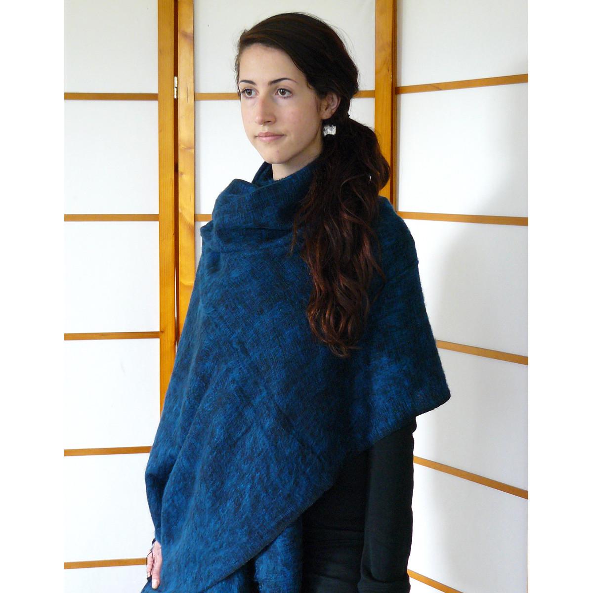 Blue woolen shawl