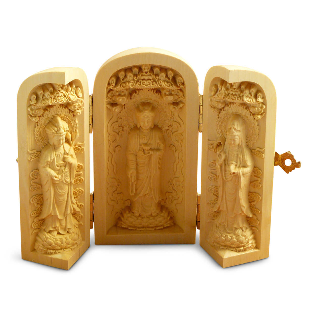 Carved Buddha Triptych - open