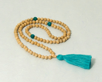 Lotus Seed Mala with turquoise