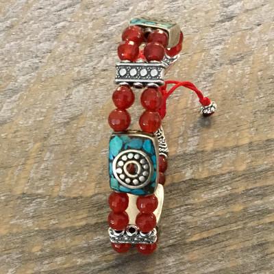Tibetan Carnelian and Silver Bracelet