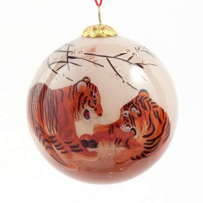 Hand-painted Glass Ornament - Tiger