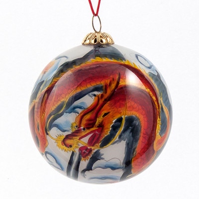 Hand-painted Glass Ornament - Dragon
