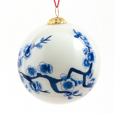 Hand-painted Glass Ornament - Blossoms